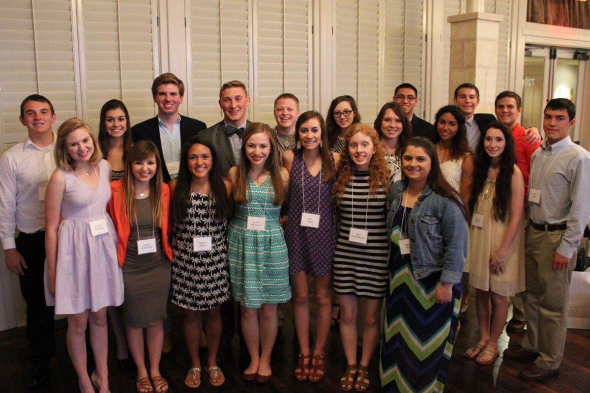 The Cailloux Foundation Scholarship Program awarded $56,000 scholarships to twenty 2015 area high school graduates to attend universities in Texas. L-R: Jose Gonzales, Jacob Herron, Mason Carter, Nathan Raggo, David Hill, Madelyn Glentz, Monty McKeon, Cory Jennings, John Derry, Katie McCarty, Kenzie Smith,   Jazmine Lescuer, Chenoa Bedford, Brienna McKinney, Angela Pascarella, Laurah Lopez, Rachel McCormick, Molly Adams, Kate Jones-Waddell, Sarah Smith