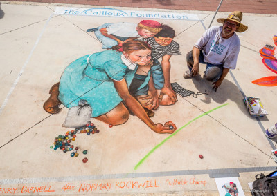 A large street painting by Henry Darnell of Dallas, the featured artist for the 2015 Kerrville CHALK Festival